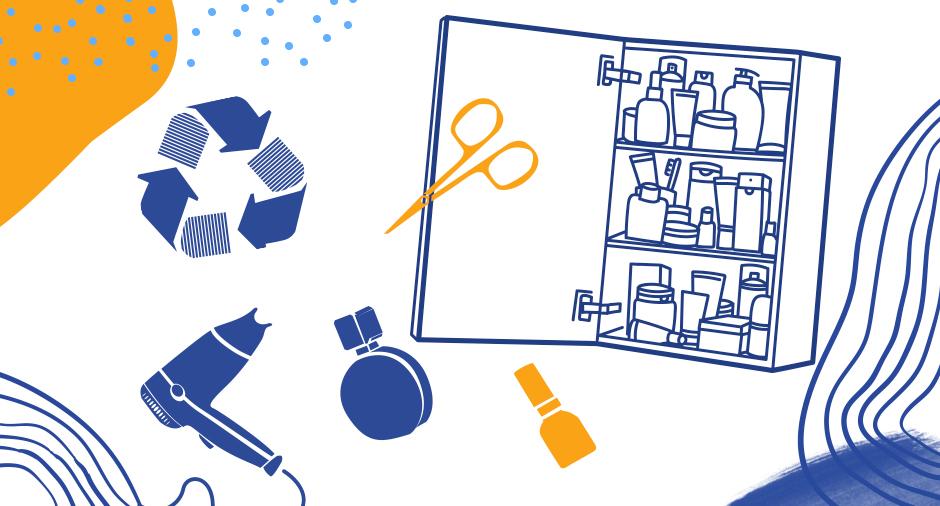 Kuvituskuva. Avoin kylpyhuoneen kaappi, jonka ympärillä hiustenkuivain, sakset, viila, suti ja muita tarvikkeita.