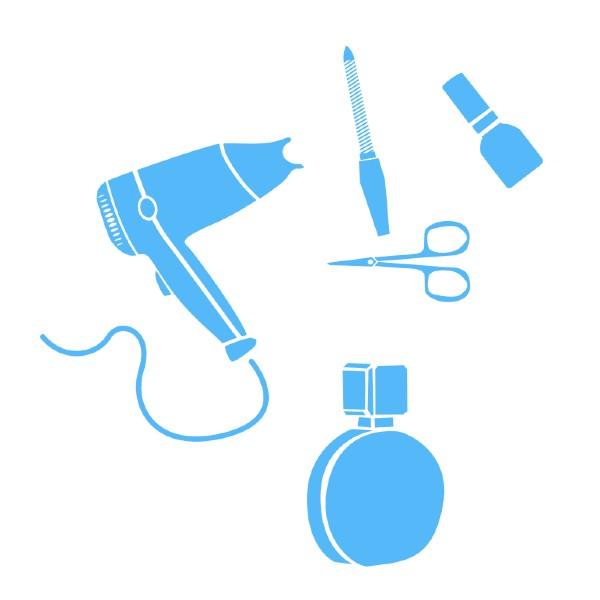 Kuvituskuva. Hiustenkuivain, sakset, suti, viila ja pullo.