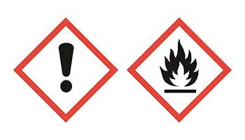 Pakkausten merkinnät. Varoitusmerkki GHS07 – terveysvaara/vaarallinen otsonikerrokselle ja GHS02 – syttyvä.